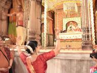 "Radharamanji gives darshan in ""Pushpa Vrishti Kunj"""